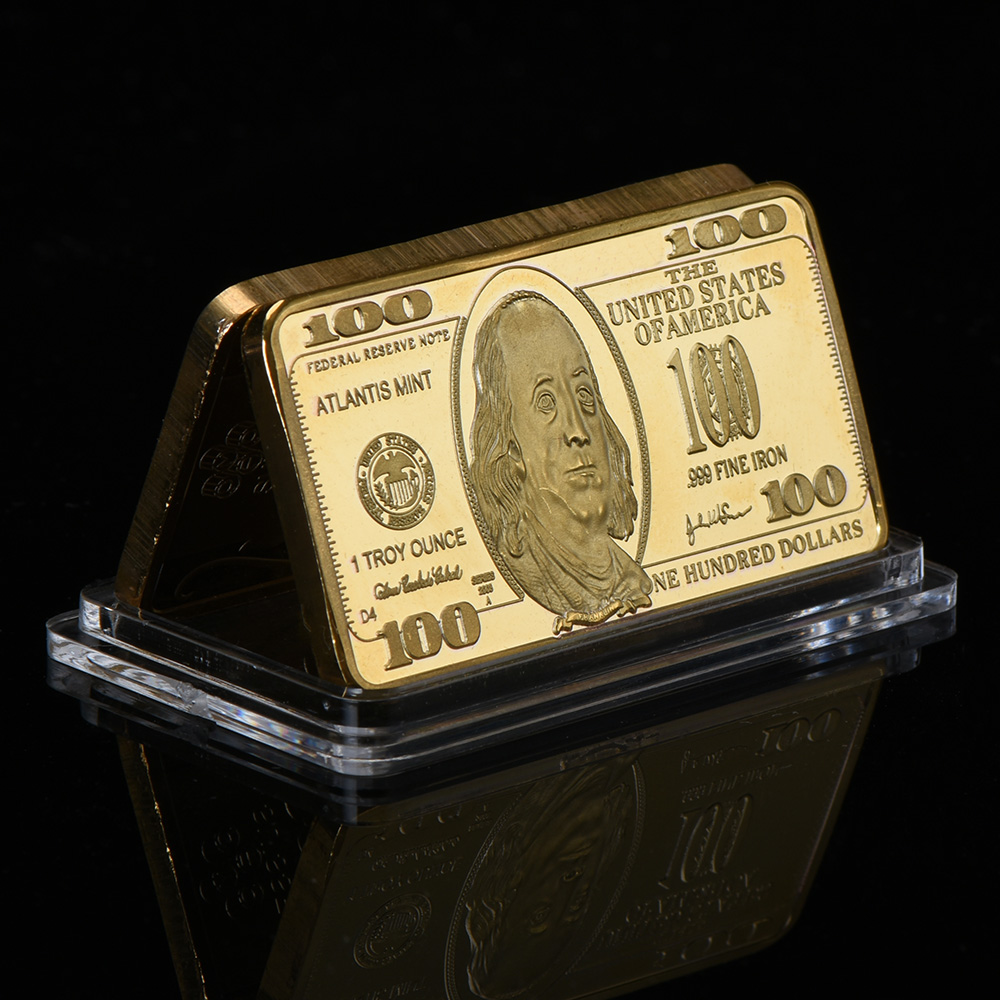 Wr Us 100 Dollar Gold Banknote Fake Bar 999 9 Plated Currency Bill Note 24k