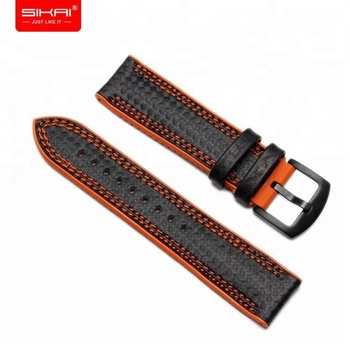 SIKAI Carbon fiber waterproof 20mm 22mm 24mm silicone watch strap for Armani