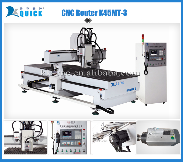 Factory supply Multifunctional CNC Router Machine K45MT-3,wood door making,3 heads with rotary function