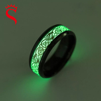 Cheap Stainless Steel Luminous Dragon Ring Unisex Accessories Fluorescent Glowing Rings For Men Women Gift
