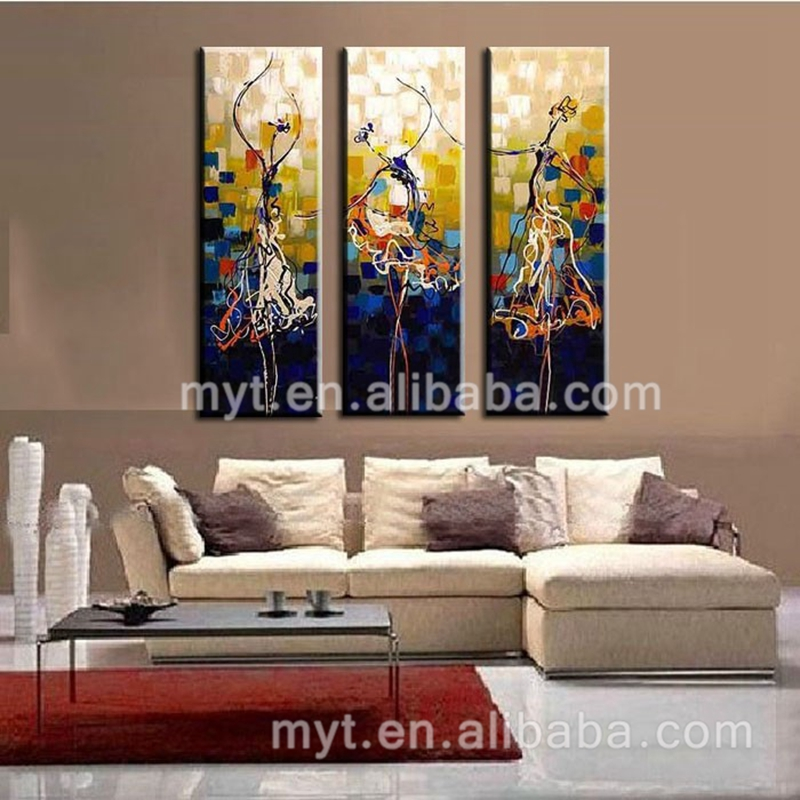 Modern Fine Art Beautiful Girl Dance Painting 4Peices Canvas Pictures