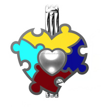 925 Sterling Silver Colorful Heart Puzzle Autism Pearl Cage Pendant Love Pearl Cage Locket Jewelry