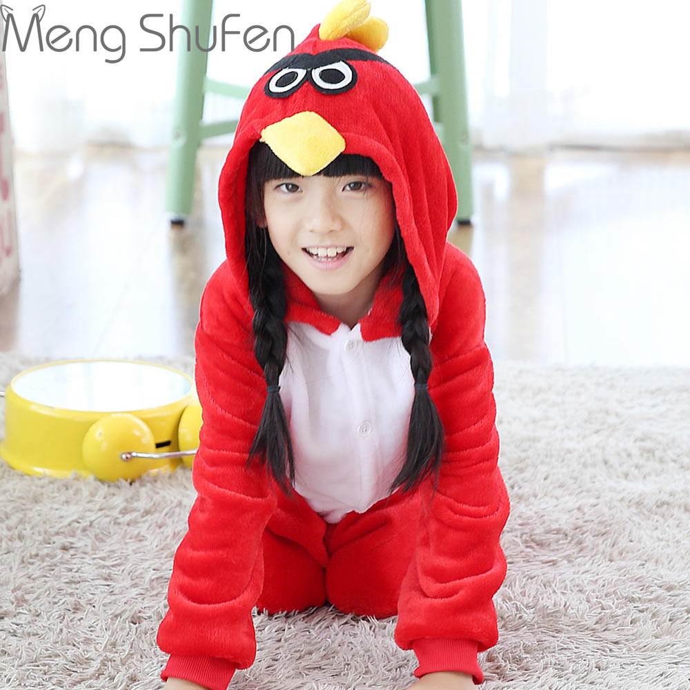 Wholesale Children Pajamas Angry Red Bird Cartoon Pajamas Winter Flannel Hooded Cute Homewear Onesie Factory processing