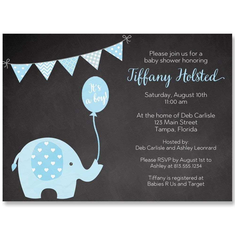 Chalkboard Elephant Baby Shower Invitation, Blue, It's A Boy, Baby Shower, New Baby, Little Peanut, Set of 10 Custom Printed Invites with Envelopes