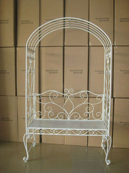 Ornate Cream Seated Furniture Metal Garden Arch For Climbing Plants