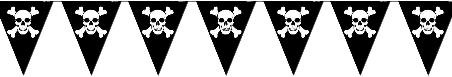 Beistle 50537 Jolly Roger Pennant Banner, 10-Inch by 12-Feet