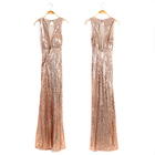 Ladies Women V Neck Maxi Long Mermaid Sequins Gown Party Dress