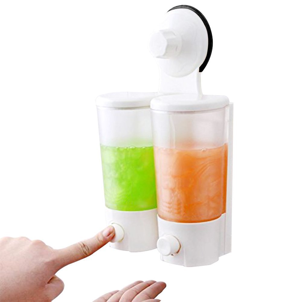 SUPOW Wall Soap & Shower Dispenser, Hand Pressure Double Suction Soap Dispenser Hand Push Liquid Soap Dispensers Hotel, Bathroom, Office, Kitchen ECT. (Clear.)