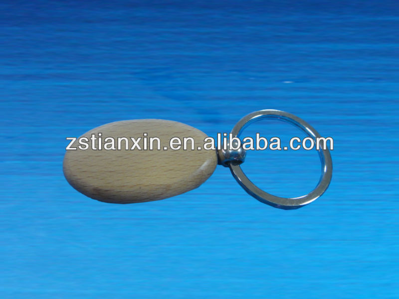 round printing bamboo wood key chain