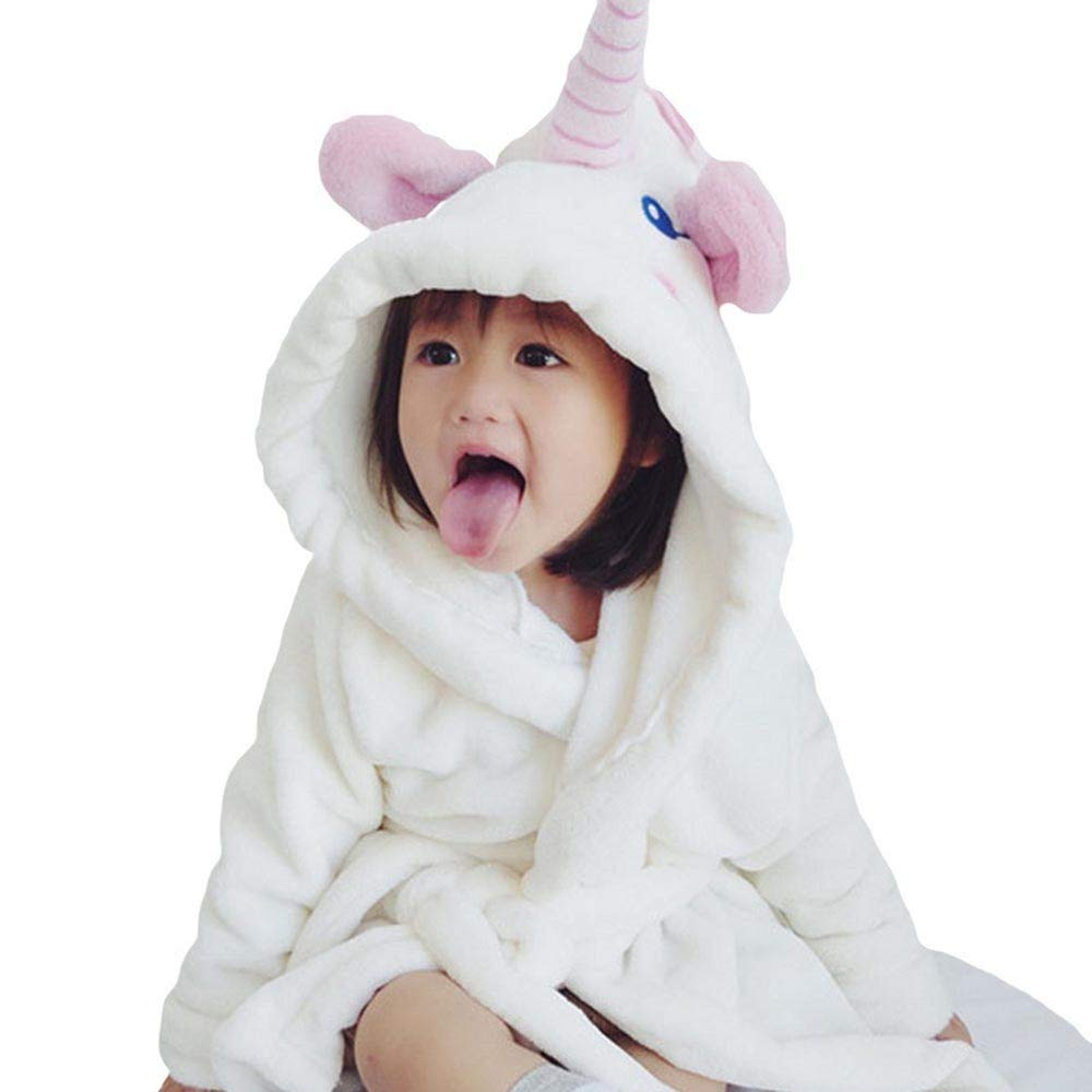 Outtop(TM) Toddler Kids Baby Boys Girls Bathrobe Cartoon Animals Hooded Towel Romper Pajamas Clothes