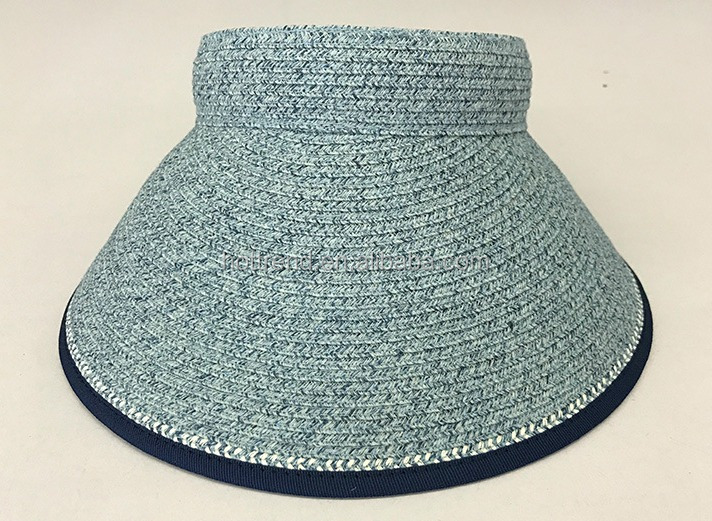 Women's multi color straw visor hat with elastic and button