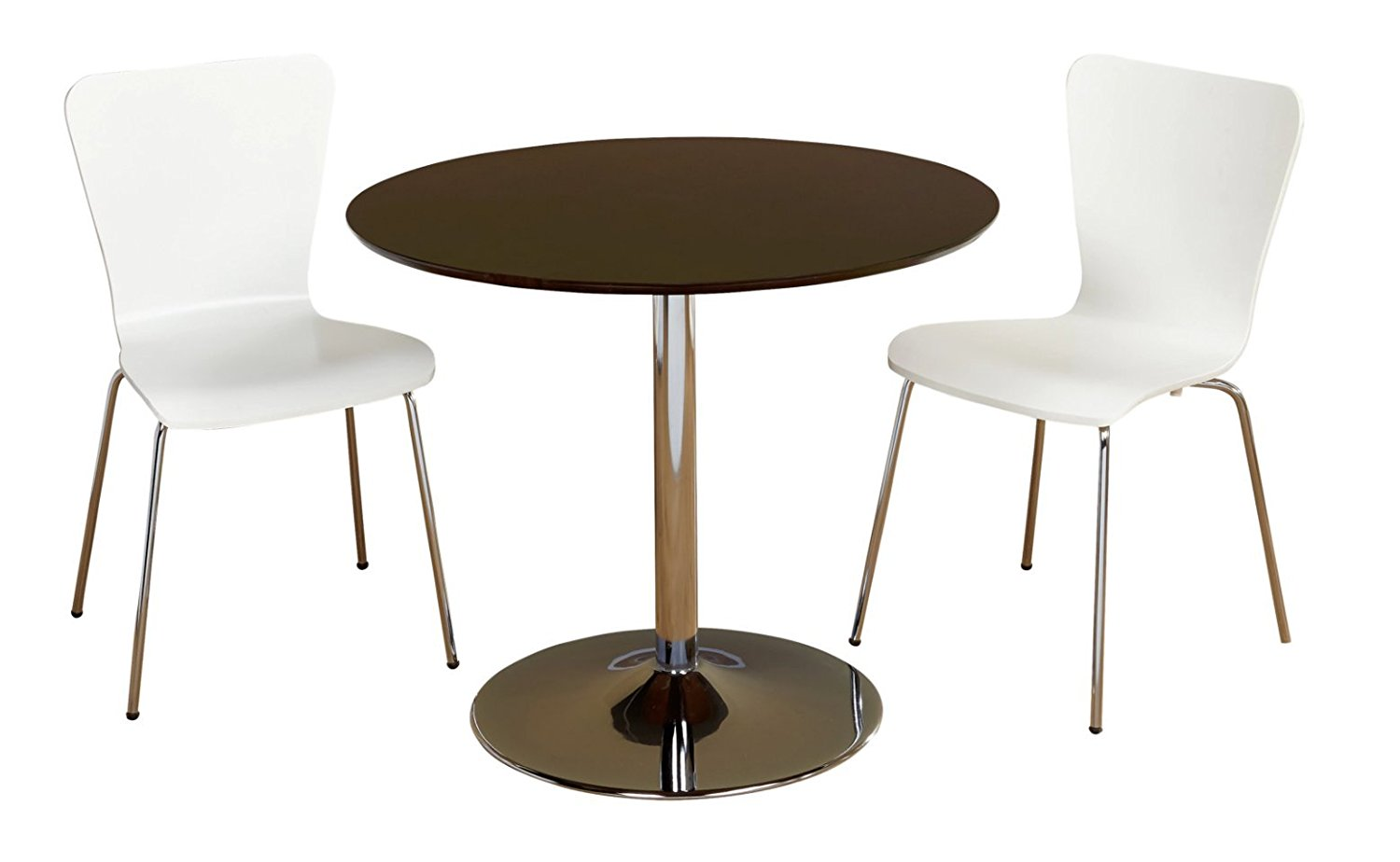 3 Piece Modern Dining Set With Brown Wood & Chrome Pedestal Base Displays Elegant Contemporary Feel. Includes 1 Round Table 2 White Stackable Chairs Great for Kitchen Small apartment dorm or loft