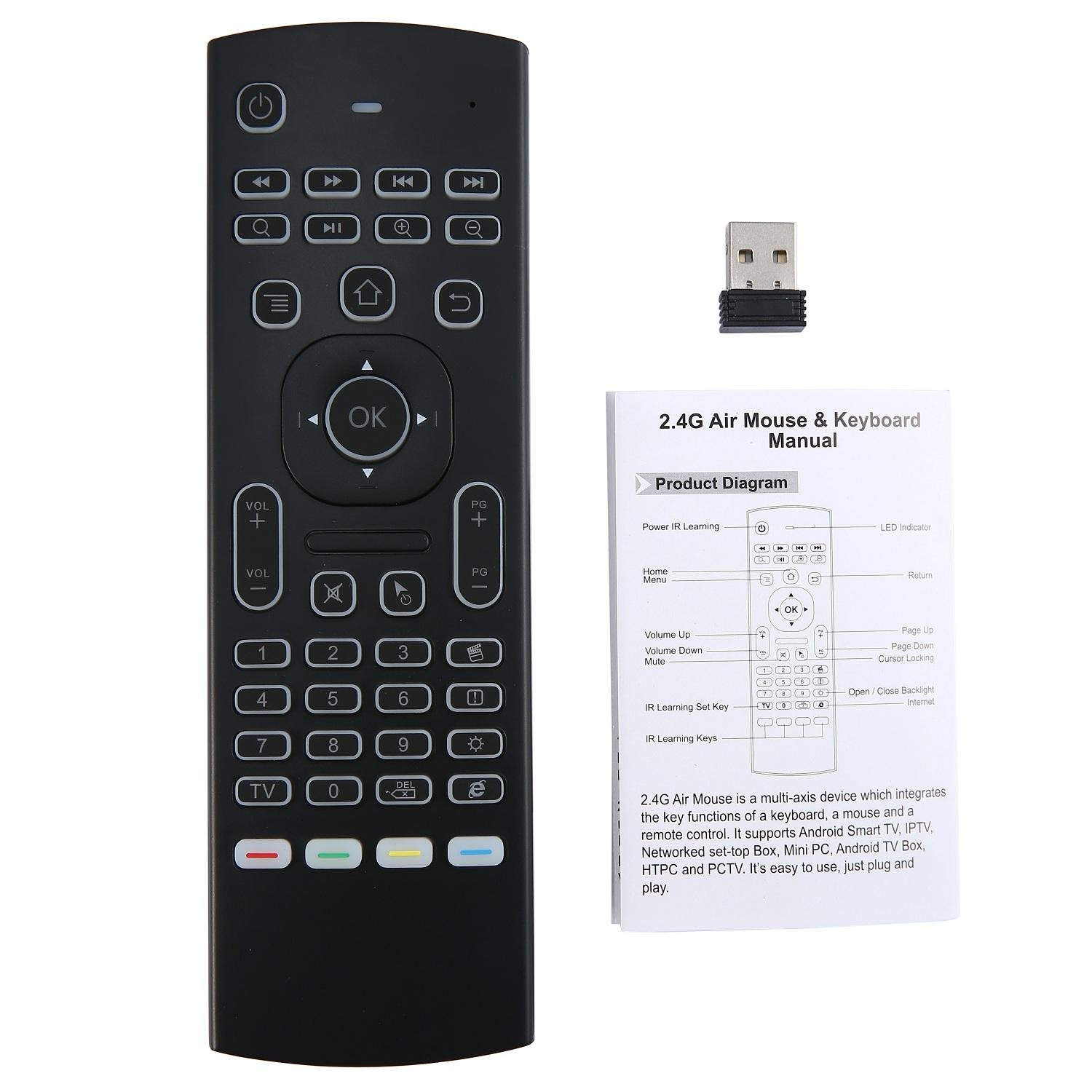 MX3 Backlight Airmouse afstandsbediening, toetsenbord draadloze onida tv afstandsbediening Voor Android TV Box