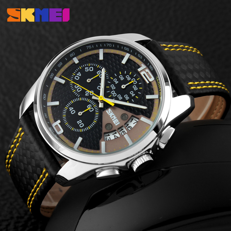 SKMEI leather with stitching strap watch in day <strong>date</strong> function hot sale