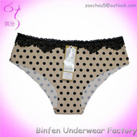 Lace Detail Hot Sexy Dot Print Laser Cut Underwear for Woman