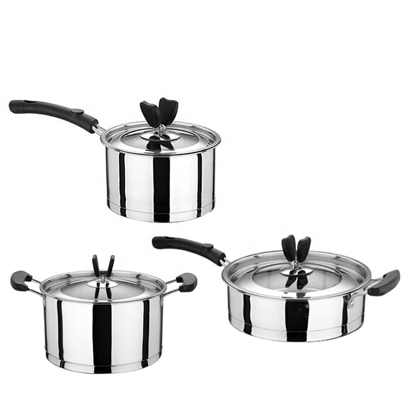 Stainless Steel Flat Bottom Non Stick Set Of Cooking Pots With Color Box Soup Pot Fry Pan Product