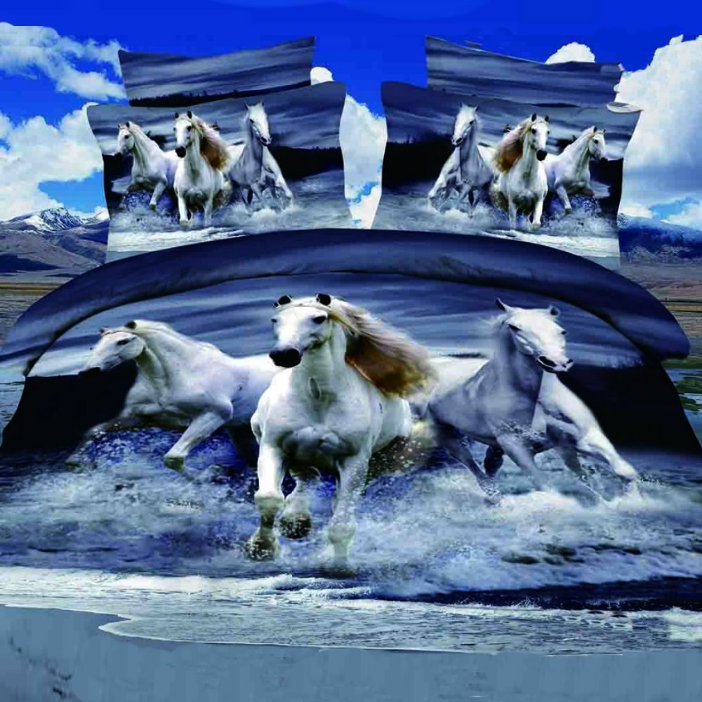 Alicemall 3D Horse Bedding Set Blue Gray Bedding Twin Home Textile Running Horses on Water Polyester 4-Piece Duvet Cover Set, Bed Sheets and Covers Set (Twin)