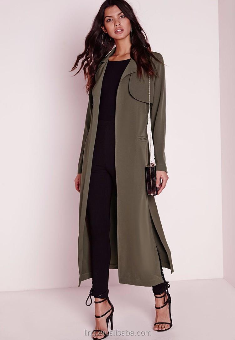 Women Coats 2016 Maxi Belted Utility Duster Long Women's Coat ...