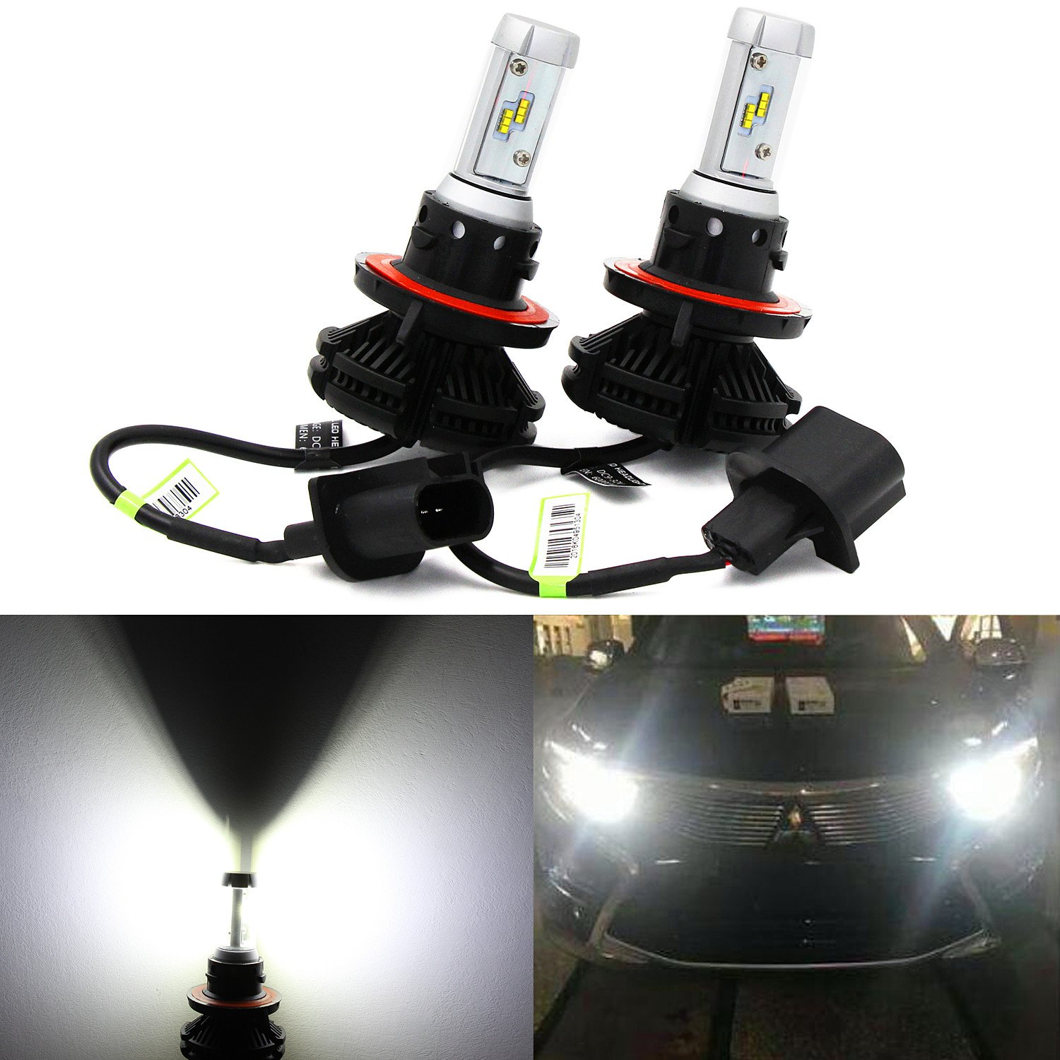 Alla Lighting 2017 Newest 6000lm DIY 3 Colors White Gold Ice Blue X3 Version Xtremely Super Bright High Power ZES Chips Mini H13 9008 LED Headlight Conversion Kits --2 Year Warranty