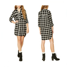 Fashion <span class=keywords><strong>Classic</strong></span> plaid langarm-shirt sommer <span class=keywords><strong>frauen</strong></span> kleider