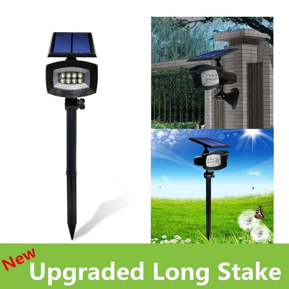 [Upgraded 400 Lumens]USYAO Super Bright 8 LED Solar Spotlight, 2 in 1 Installation, Long Working Battery, Adjustable Light and Panel,Auto-changeable Brightness Modes,Waterproof Home and Garden Using.