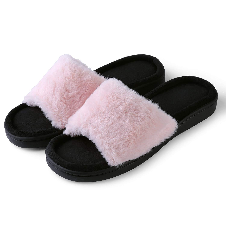 Aerusi Women's Faux Fur Fluffy Open Toe Indoor & Outdoor Slide Slipper