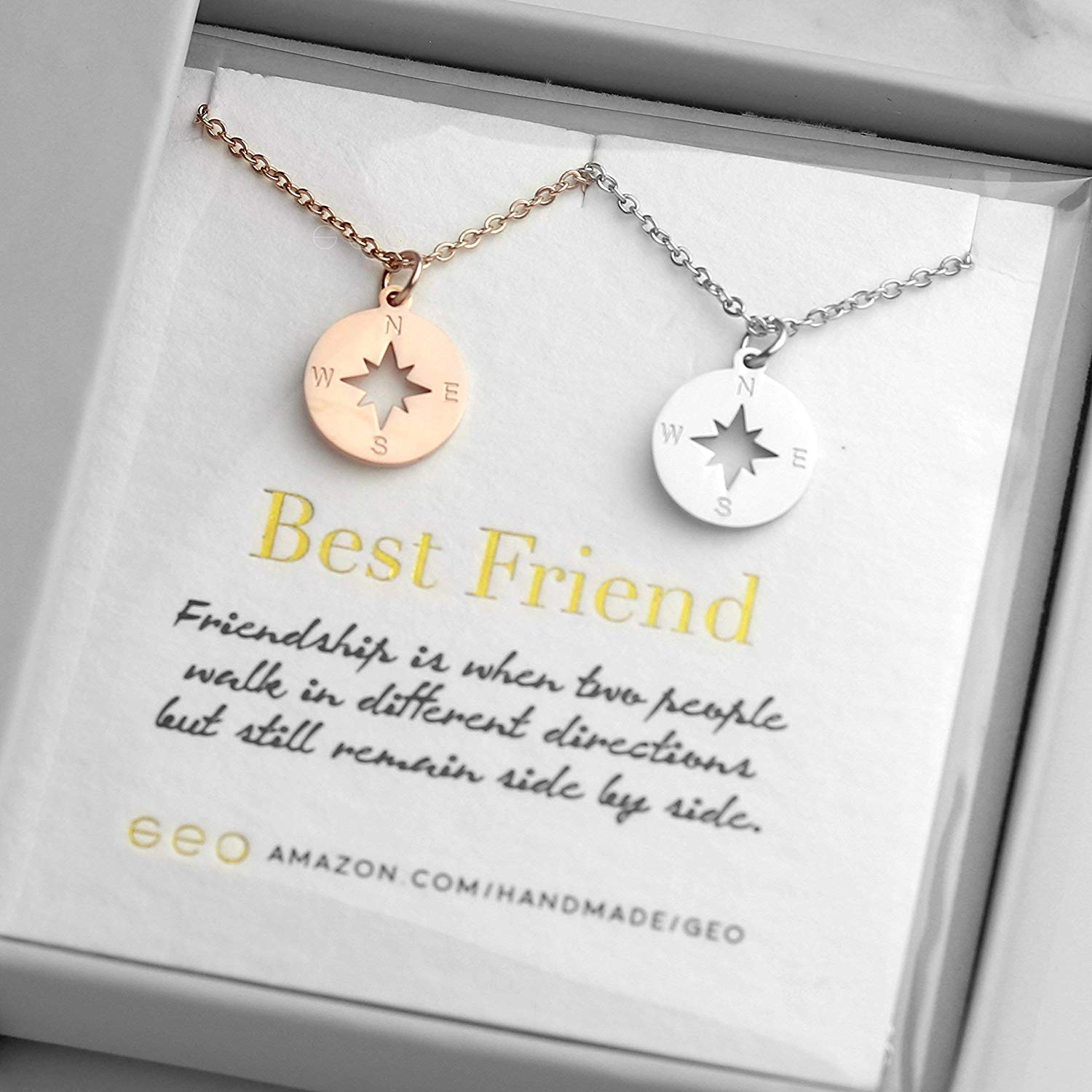 c1dc4517b61a55 Get Quotations · Rose Gold And Silver Compass Necklaces For Women Best  Friend Necklaces For Two Best Friend Gifts