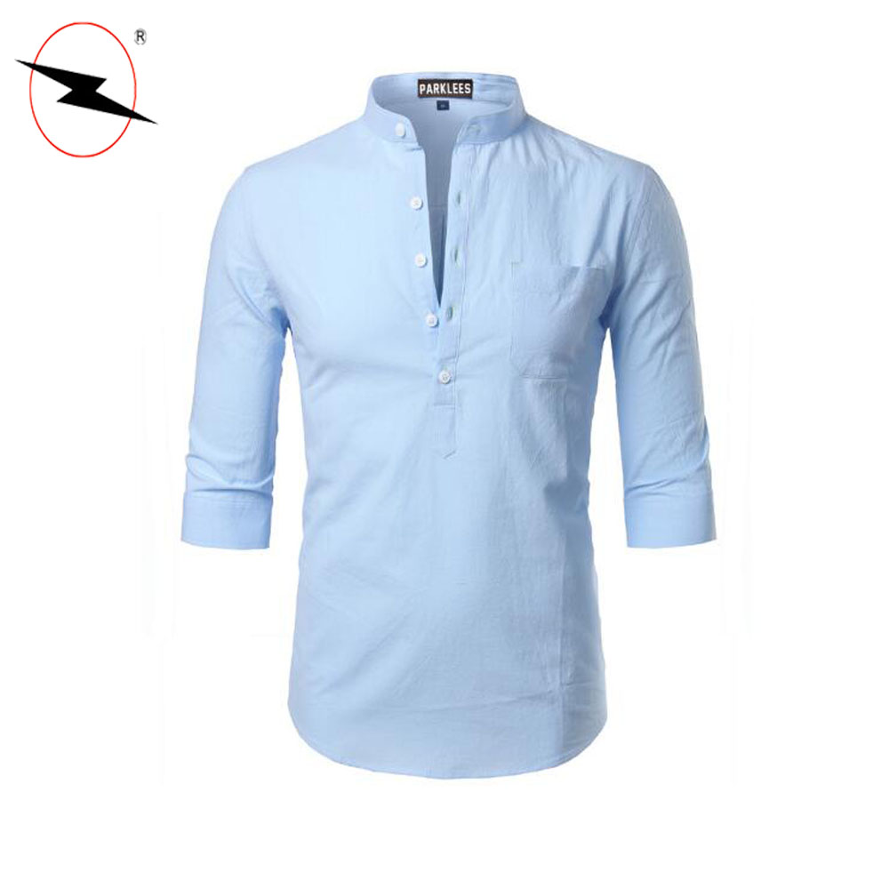 Latest New Design Stand Collar Casual Hot Sale Fashion Men Shirt