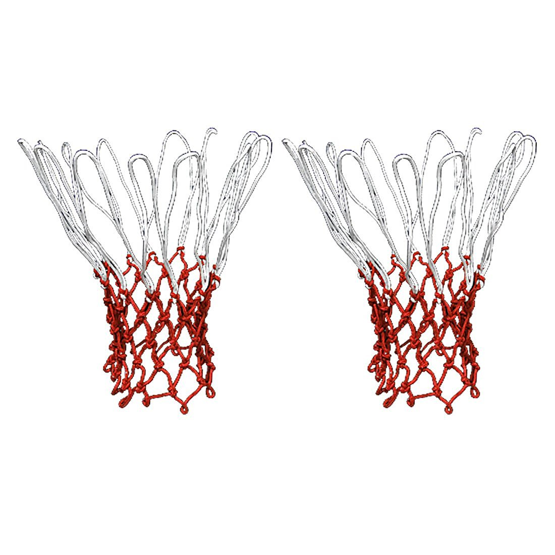 uxcell® 2Pcs 12 Loops White Red Nylon Braided Rope Basketball Sports Net Mesh