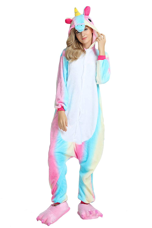 5ca571216bf7 Get Quotations · Kids Unisex Cosplay Pajamas Onesie Unicorn Costume  (Age 9-10Years (Height 51.2