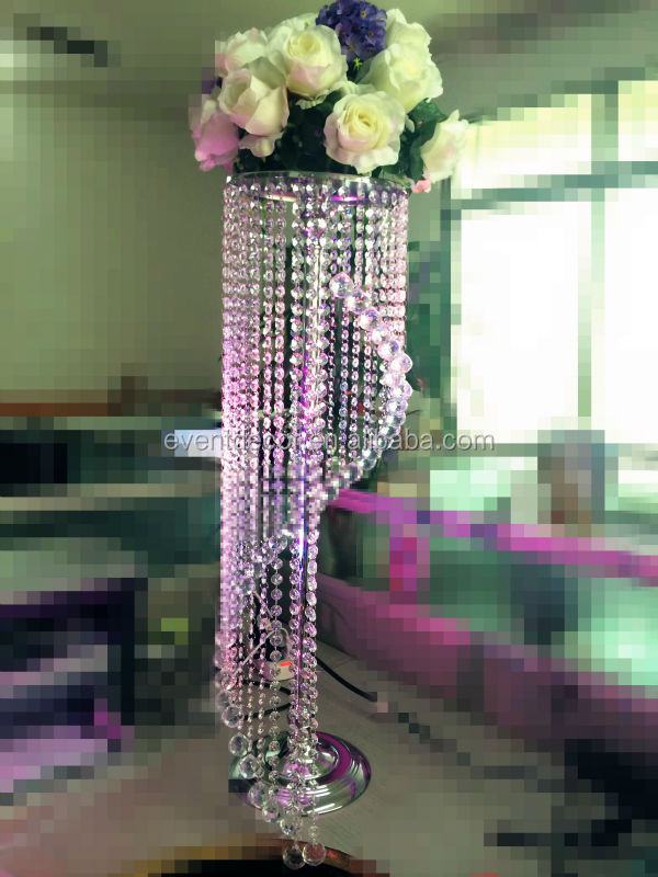 Tall crystal chandelier table top centerpieces for weddings ...