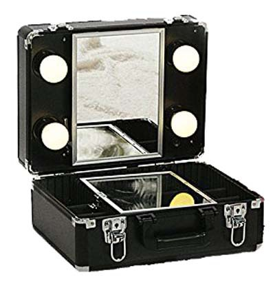 Beauty Case Black Leather Lolita Kit With Mirror Amp Lights