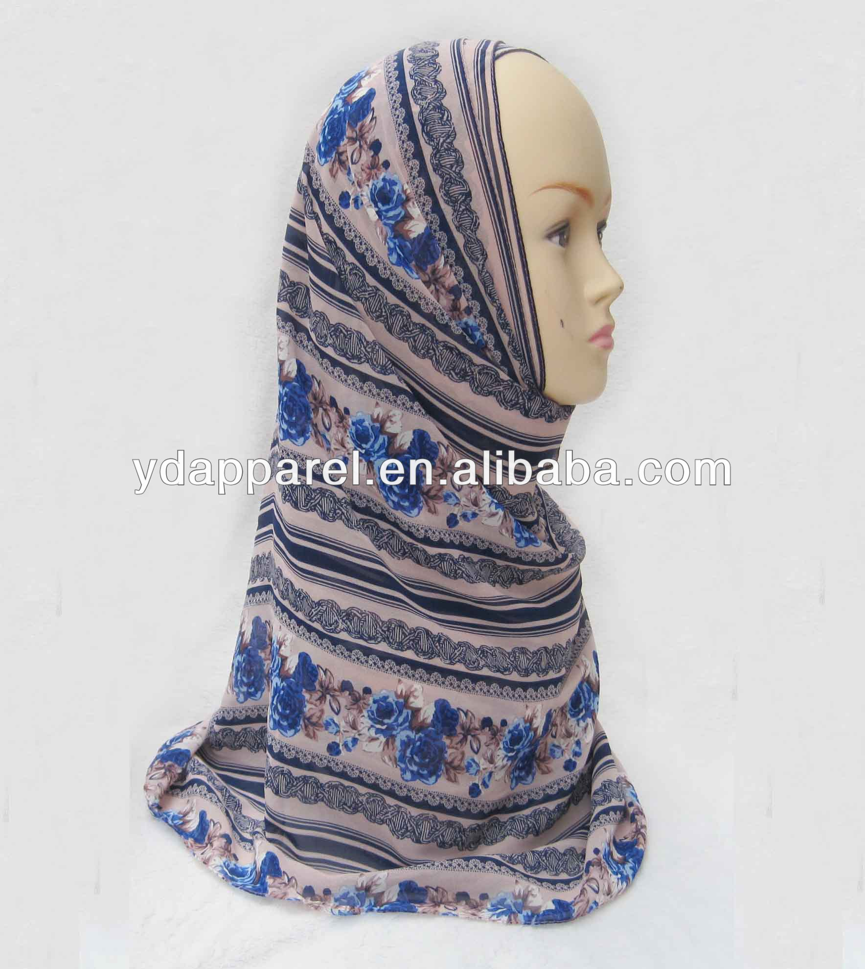 charming blue flawer with stripe Chiffon pashmina Wrap Lady Shawl scarf