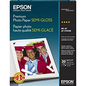 "Epson Photo Paper . Letter . 8.50"" X 11"" . 251 G/M . Semi. Gloss . 93 Brightness . 20 / Pack . White ""Product Type: Supplies/Printing Media"""