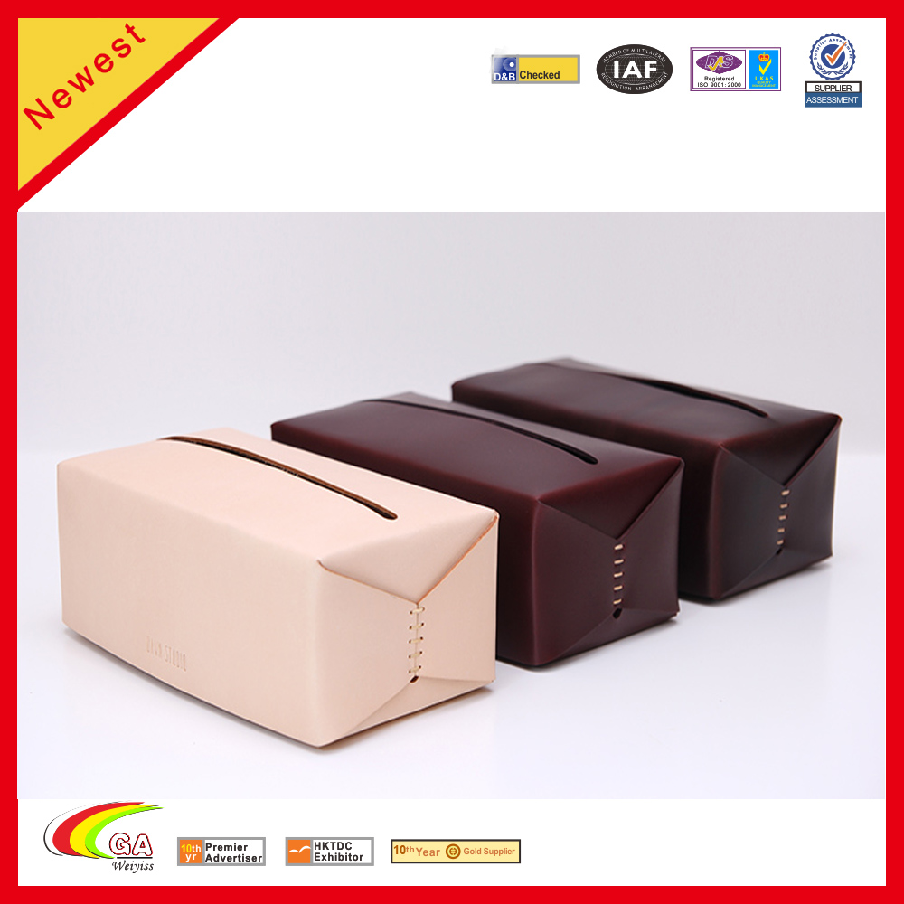 Elegant Classic Style Genuine Leather Tissue Box For Hotel