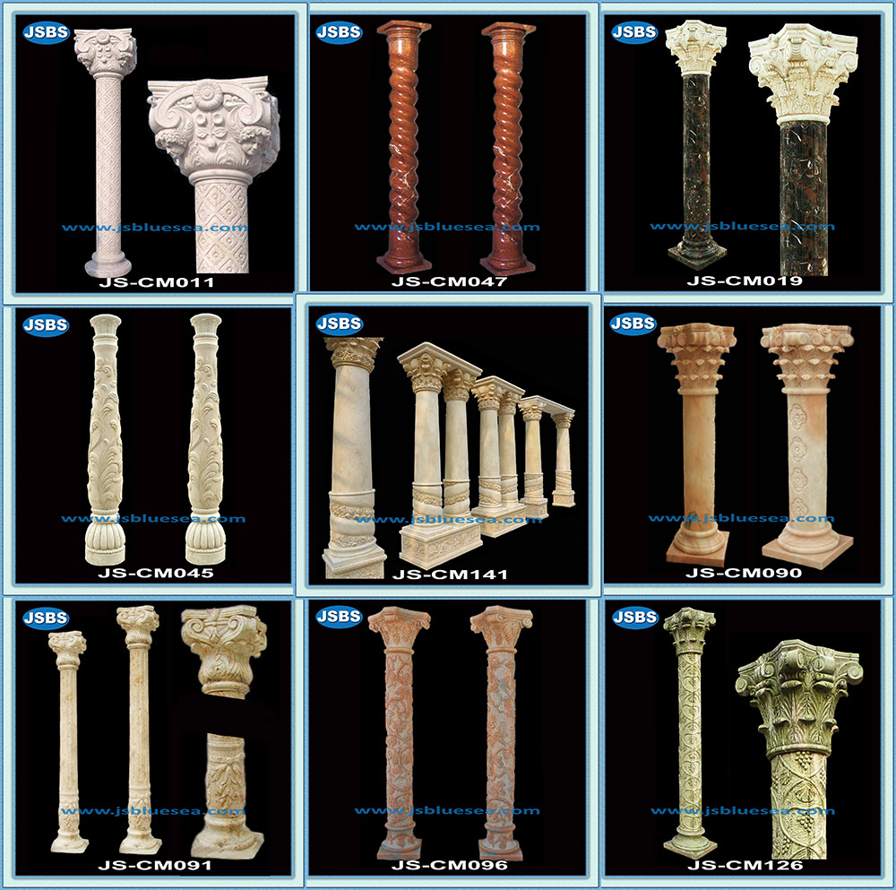 New Style Flower Carved Roman Wedding Pillars Columns