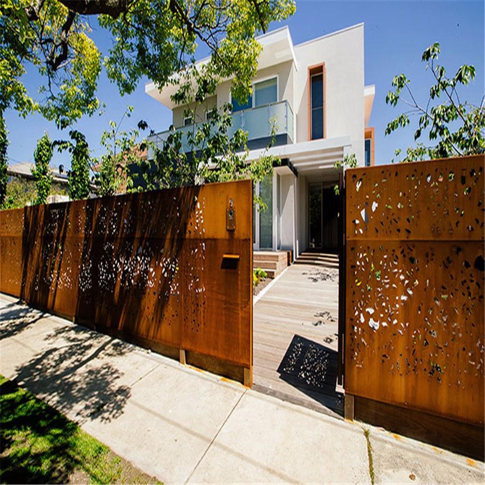Modern Corten Steel Metal Yard Fence Panels With Cheap