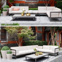Mewah Bingkai Logam Aluminium Teras Outdoor Garden Furniture <span class=keywords><strong>Sofa</strong></span> <span class=keywords><strong>Set</strong></span>