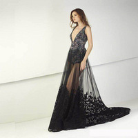 Sexy Backless Lace beaded black elegant Evening Formal Dress 2018 Black See-Through Mermaid V Neck long Prom Dress