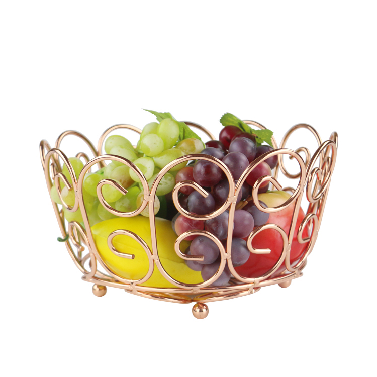 Present Time HEART Shaped FRUIT BASKET Wire Metal Bowl GOLD