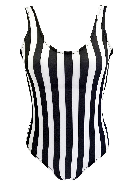 3900fb3cd1e Get Quotations · Zando Women One Piece Plus Size Bathing Suits Low Back Swimsuits  High Cut Bikini Cute Stripe