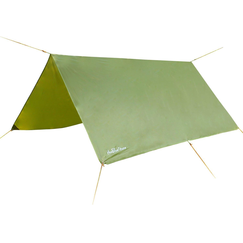 theBlueStone Rain Tarp Shelter in 10 x 10 FT for Canopy Double Hammock Outdoor Camping, Ripstop Rain Fly (Army Green)