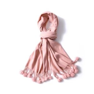 Solid color cashmere acrylic knitted warm soft women scarf shawl wigh fringe