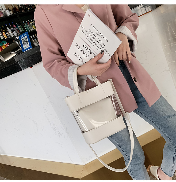 Fashion Women handbag Transparent PVC Clear Beach single shoulder bags set tote bags blank