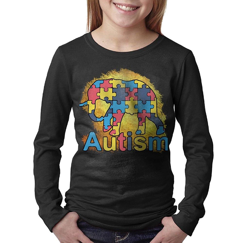 c580c1f3 Get Quotations · Hapli 100% Cotton Youth Big Girls Boys Autism Awareness  Autism Gift Autism Elephant Long Sleeve