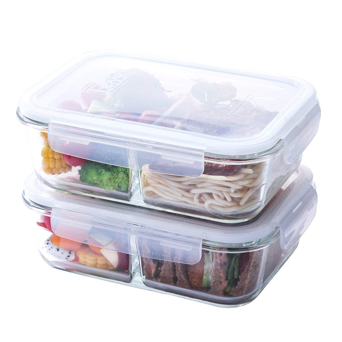 6.43-Cup Glass Meal Prep Containers 2 Compartment, Glass Food Storage Container Set with Airtight Locking Lids(51.4oz, 2-Pack), Portion Control, Microwave, Freezer, Oven, Dishwasher Safe