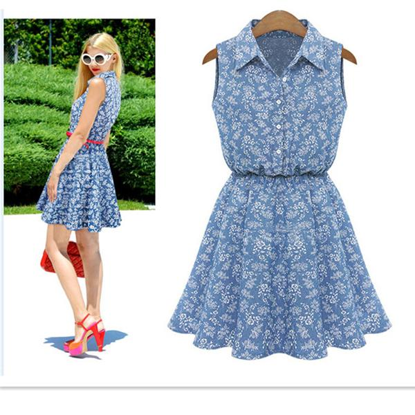 5b8554e6020 Get Quotations · Women Print Denim Dress Woman A-Line Waist Elastic Lapel  Flower Button Sleeveless Casual Slim