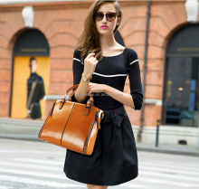 new fashion brown casual tote luxury designer bag brands famous pure lather lady's handbags wholesale