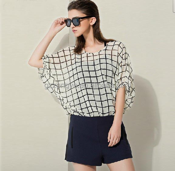 6ab93a92fd8 Chic Check Summer Tops Latest Design Girl Top With Batwing Sleeve ...