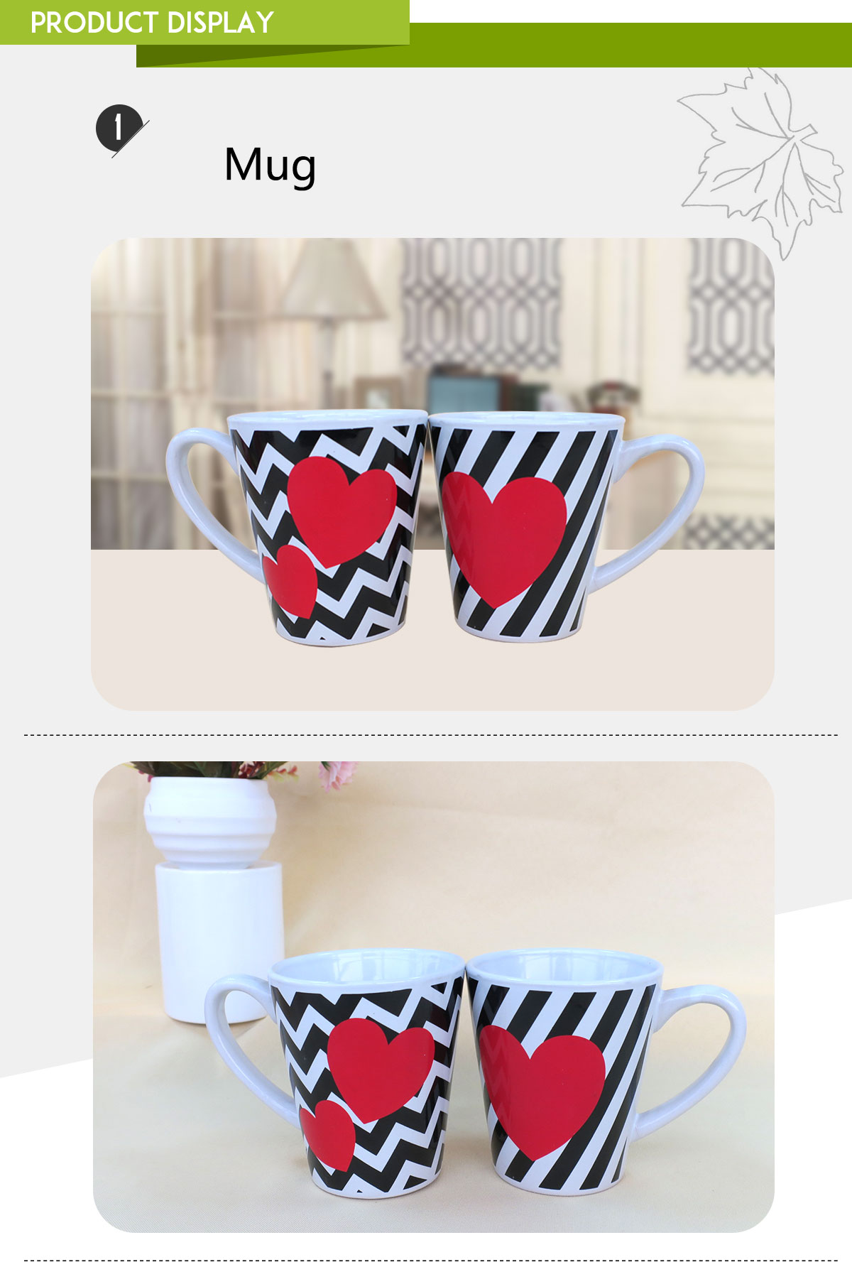 Beautiful ceramic coffee cups paint mug with heart shaped design for promotion